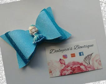 Teal bow, faux leather bow, teal glitter bow, teal headband, teal, glitter bow
