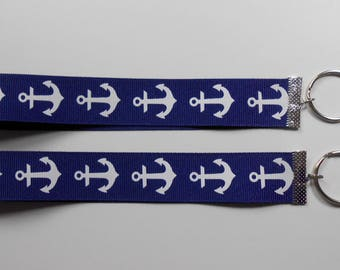 Navy Blue with White Anchors Ribbon Keyrings