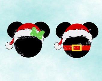 Mickey Christmas SVG, Disney Christmas SVG, Mickey Santa Hat Svg, Minnie Christmas Svg, Mouse Svg, Files for Cricut, Disney Dxf