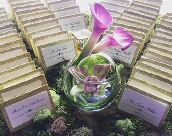 Enchanting Moss Wedding Place Card Holder