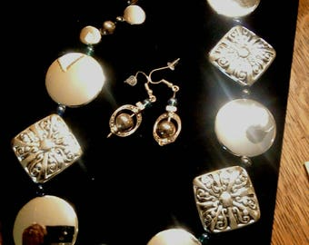 Elegant Bold Silver Necklace and Earrings