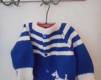 Vintage Hand Knit Child's Sweater w/dog