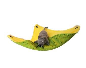 Rat Hammock - Rat Cage Accessories - Square Yellow Green simple snuggle hammock - Sugar Glider Hammock