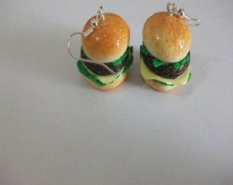 Polymer clay Burger earring