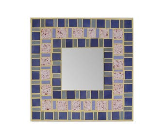 Purple mirror accent 10 inch wall hanging canvas mosaic paper art geometric design decorative magazine paper collage living room decor