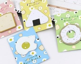 Breakfast Kawaii Sticky Notes, Memo Notes, Labels, Bookmarks, Tags, Stationary.