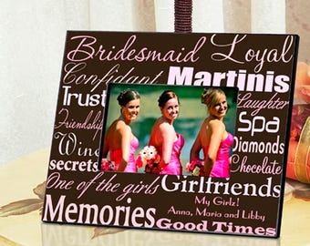 Personalized Bridesmaid Frame - Bridesmaid Photo Frames - Bridesmaid Picture Frames - Wedding Party Gifts - Personalized Bridesmaid Gifts