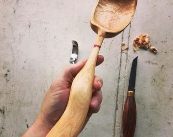 Hand carved Maple cooking spoon, great for holiday gifting and heartfelt giving.
