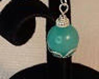 Blue Agate & Silver Drop Earrings