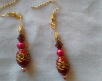 Drop Earrings - Red and Gold