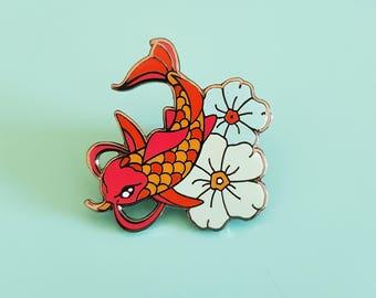 Japanese Koi Fish Tattoo Pin, Lapel pin, Pin Badge, Cute pins, Dan Pins