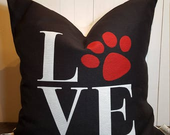 Love My Pet, Dog Pillow, Dog Paw, Pillows, Love, Dog Lovers, Decorative Pillow Throw Pillow Home Decor Handmade             black and White