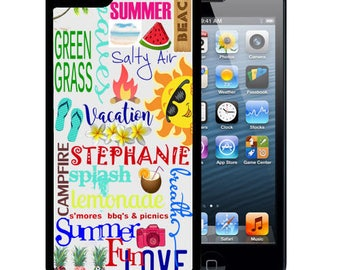 Personalized Rubber Case For iPhone X, 8, 8 plus, 7, 7 plus, 6s, 6s plus, 5, 5s, 5c, SE - Summer Typography