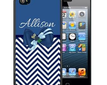 Personalized Rubber Case For iPhone X, 8, 8 plus, 7, 7 plus, 6s, 6s plus, 5, 5s, 5c, SE - Blue Chevron Bow