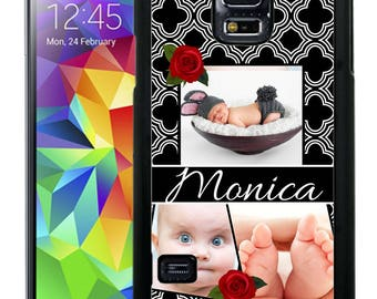 Custom Personalize Rubber Case For Samsung Note 3, Note 4, Note 5, or Note 8- Custom black Quatrefoil