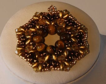 Bronze glass beads pendant