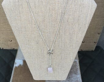 Rose Quartz and Silver 34 Inch Necklace