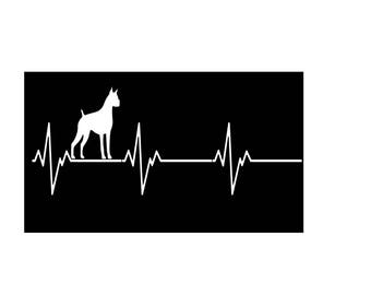 Boxer Dog White Vinyl Car Decal, Heartbeat Boxer Dog, Car Decal, Window Decal