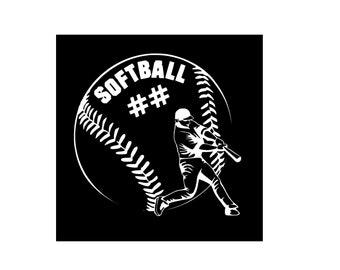 Softball Vinyl Decal, Car Decal, Window Decal, Baseball, Yeti, Tumbler, Laptop, Sports, Sport Decal
