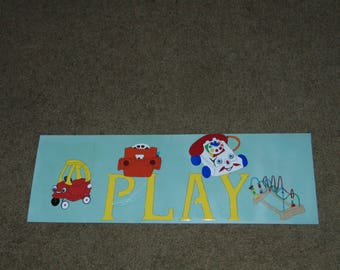 Retro Toys Play Sign Vintage Toys Child's Sign for Kids Rooms and Nurseries Cartoon Painted Sign