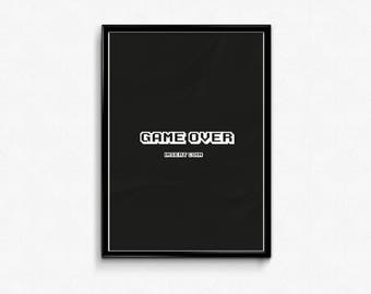 Game Over, Game Boy, Arcade, Printable Art, Wallart, Typography Print, Black and white, Instant Download, Poster, home Decor, Print,