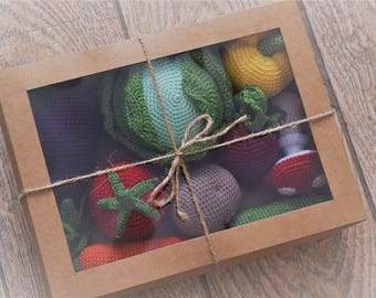 Crochet Play Food. Crochet vegetables. Crochet fruits. Eco friendly baby toys