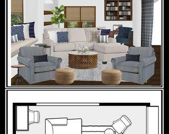 Full Room Design,E Design, Online Interior Design, Traditional Living Room,