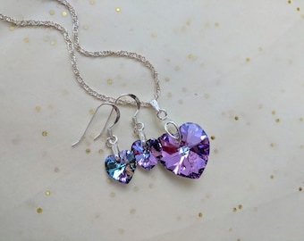 Swarovski heart crystal elements necklace and earrings set