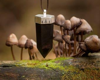 Unisex wooden pendant - Faceted solid wood pendant - Ebony pendant - Contemporary sterling silver pendant - Boho crystal shape pendant