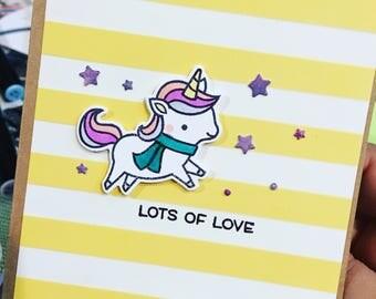 Unicorn Handmade Card / Birthday cards / Christmas Cards