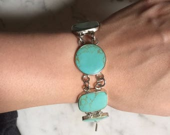 Silver and turquoise link bracelet