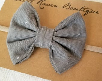 Grey Corduroy Bow, Baby Bow, Toddler Bow, Baby Headband, Toddler Headband, Alligator Clip