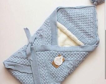 newborn wool blanket , baby sleeping bag , swadldling blanket ,stroller blanket , newborn gift , baby gift ,baby boy