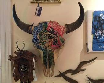 Buffalo Skull painted by tattoo artist.