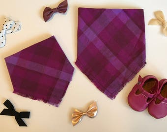 Mixed Berry Plaid Infant and Toddler Blanket Scarf Bandana Bib, baby shower gift, baby bib, expectant mother gift