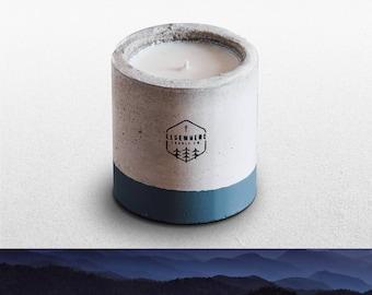 Great Smoky Mountains (MAPLE + GUNSMOKE) Handmade Soy National Park Concrete Candle