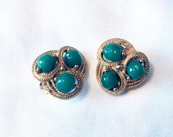 Vintage Green Jade Gold Clip on Earrings