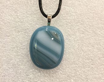 Steel Blue & White Pendant