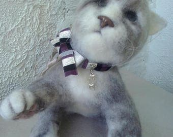 Needle felted cat,soft sculpture,felted animal,realistic felted cat
