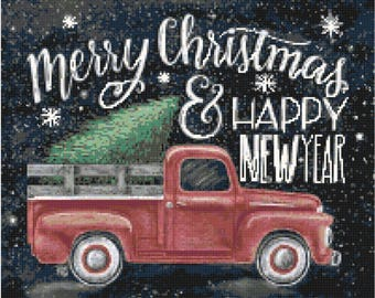 Merry Christmas pdf cross stitch pattern