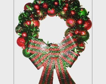 Christmas Wreath -  Sparkling Red and Green Ornament Wreath with Red LED Lights