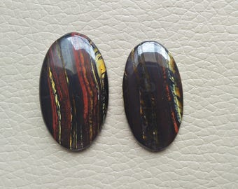 2 Piece Natural Iron Tiger Eye Gemstone 74 Carat Oval Shape Gemstones, Healing Crystals Cabochon Gemstone, Iron Tiger Eye Jewelry Supplies.