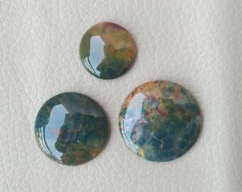 3 Piece Round Bloodstone Hand Polish 87 Carat Stones, Wholesale Cabochon, Beautiful Natural Bloodstone Gemstone, Jewelry Supplies Gemstones.