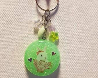 Rabbit key ring, rabbit, resin pendant