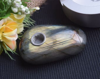 Labradorite pipe, crystal pipe, quartz pipe ,gemstone pipe, raw stone pipe, tobacco pipe, collectible!