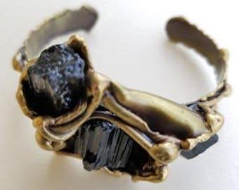 Brass Cuff Bracelet with Tourmaline