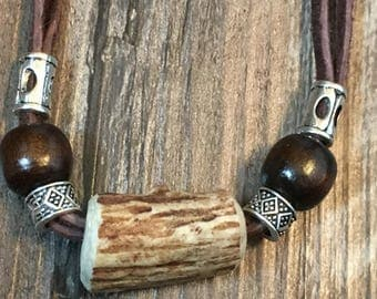 Handmade antler necklace with leather and chain cord