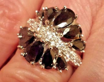 Black Spinel & White Topaz Pear Cut Gemstone Sterling Silver Plated  Ring - 7