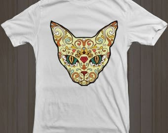 Sugar Skull T-Shirt - Mexican Sugar Skull - Cat Sugar Skull - Shirt - Gothic T Shirt - Unisex - Ladies - Mens