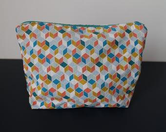 Make up Case, Cotton Bag, Accessories Cases, Zipper Pouch, Geometrical Pattern Case, Bright Color Pouch, Trousse maquillage, Pencils case
